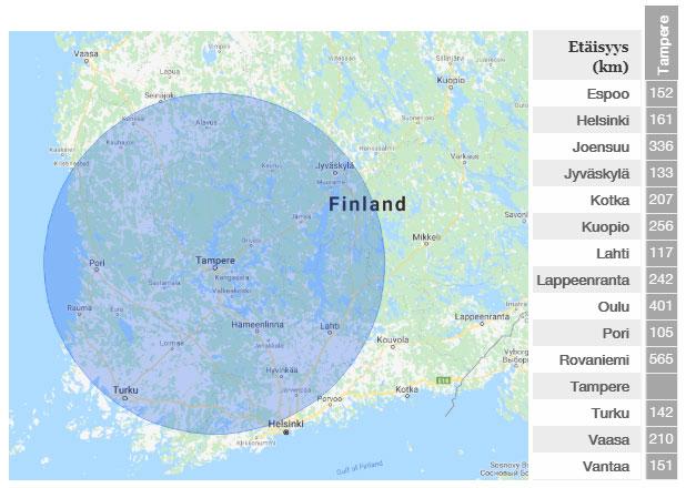 Kartta asennusalueesta